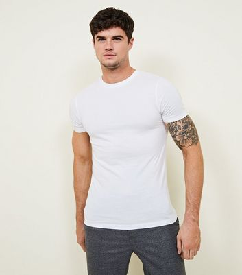 T-shirt Muscle Fit blanc à manches courtes