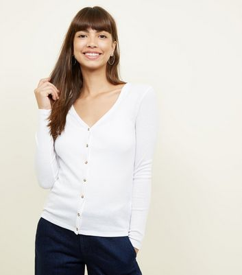 White Ribbed V-Neck Cardigan