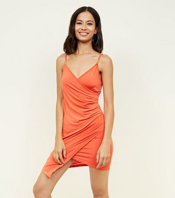 Bright Orange Hardware Strap Asymmetric Wrap Party Dress