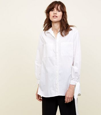 White Tie Sleeve Longline Cotton Shirt
