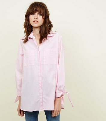 Pink Tie Sleeve Longline Cotton Shirt
