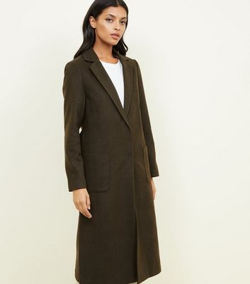 Khaki Bar Back Revere Collar Maxi Coat