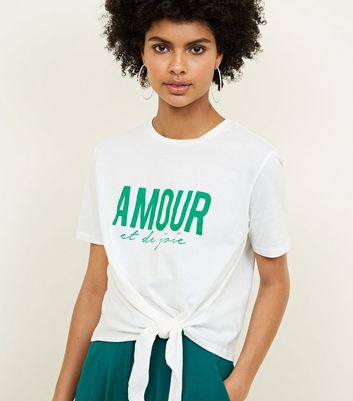 White Amour Slogan Tie Side T-Shirt