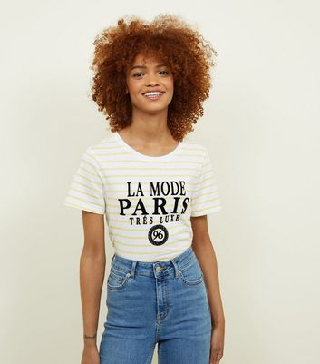 Yellow Stripe La Mode Paris Slogan T-Shirt