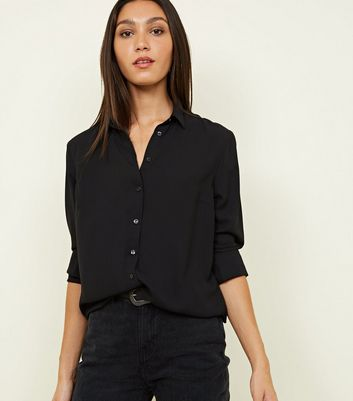 Tall Black Crepe Shirt