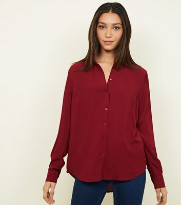 Tall Burgundy Crepe Shirt