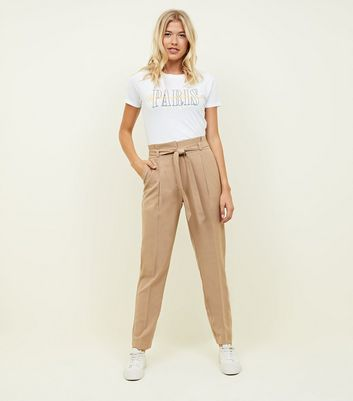 Tall Camel Tie Front Tapered Trousers