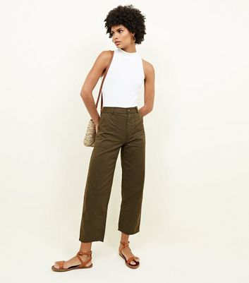 Khaki High Waist Utility Trousers by New Look
