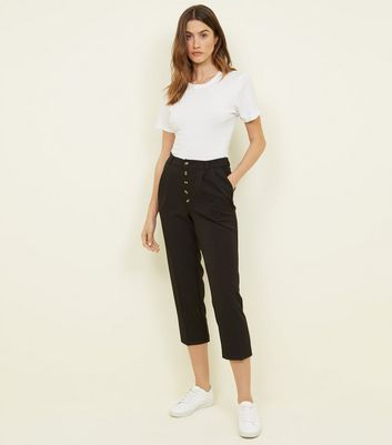 Black Button Front Tapered Trousers