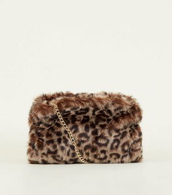 Brown Leopard Faux Fur Hand Warmer Bag