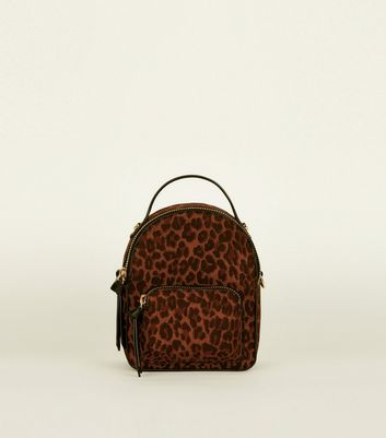 Brown Convertible Leopard Print Micro Backpack by New Look