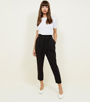 Black Side Piped Tie Waist Trousers