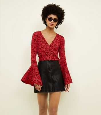 Red Leopard Print Bell Sleeve Wrap Top