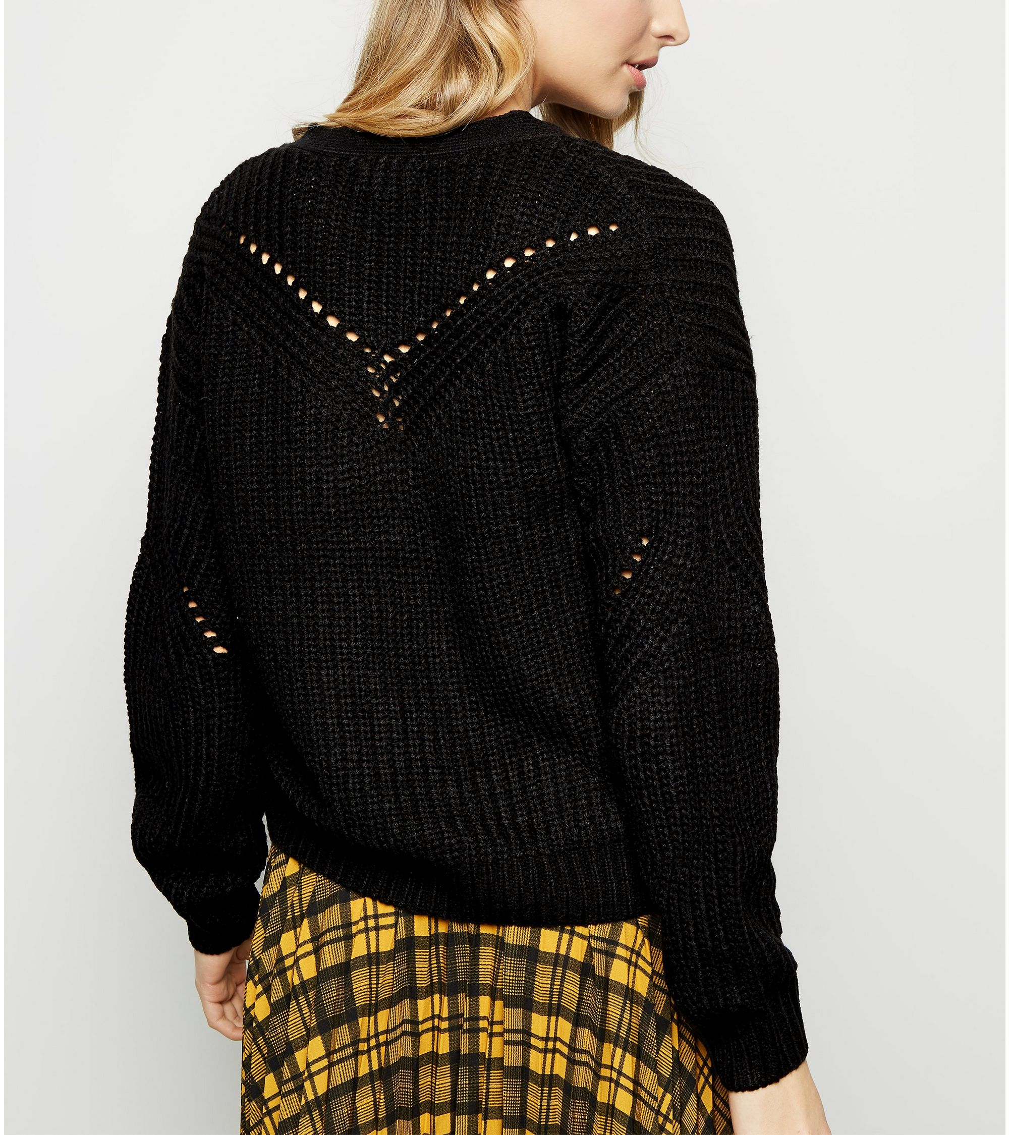 8414182ddc New Look Black Chunky Pointelle Knit Cardigan at £22.99
