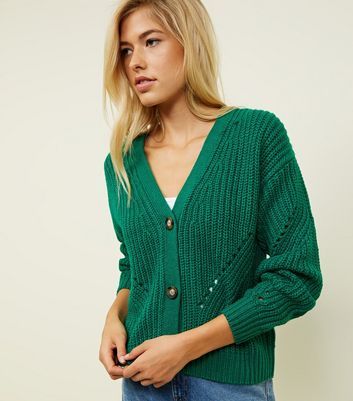 Green Chunky Pointelle Knit Cardigan