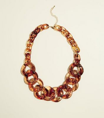 Rust Resin Chain Link Necklace