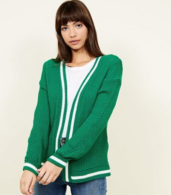 Green Contrast Stripe Knitted Cardigan