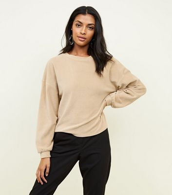 Camel Ribbed Chenille Balloon Sleeve Top