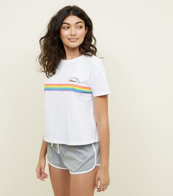 Rainbow Stripe Slogan Pyjama Set