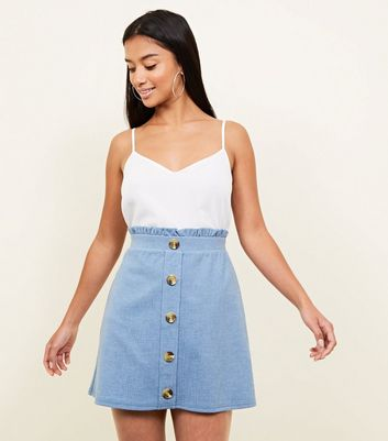 Petite Pale Blue Button Front Paperbag Skirt by New Look
