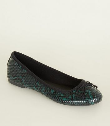 Green Faux Snakeskin Bow Front Ballet Pumps