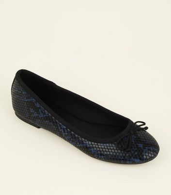 Blue Faux Snakeskin Bow Front Ballet Pumps