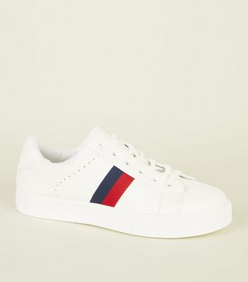 White Leather Look Side Stripe Trainers by New Look