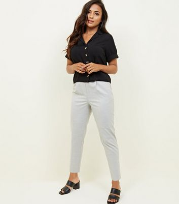 Petite Grey Brushed Tapered Trousers