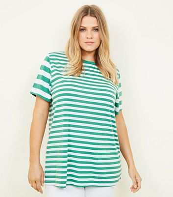 Curves Green Contrast Stripe T-Shirt