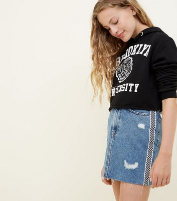 Girls Blue Checkerboard Stripe Side Denim Skirt
