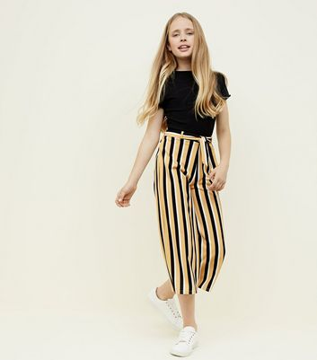 Girls Yellow Stripe Crepe Culottes