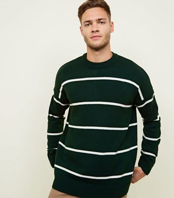 Dark Green Stripe Crew Neck Jumper
