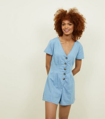 Blue Button Through Lightweight Denim Playsuit