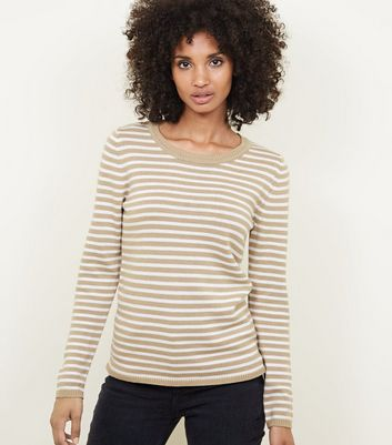 Tan Stripe Crew Neck Jumper