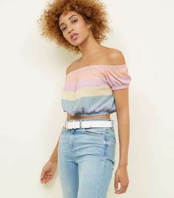 Pastel Rainbow Stripe Ribbed Knit Crop Top