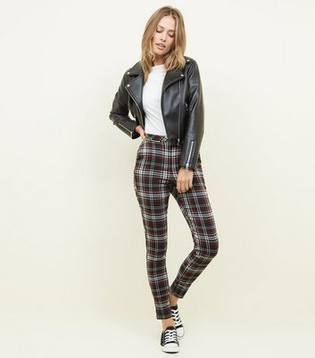 Tall Black Check Zip Pocket Skinny Trousers