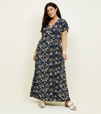Blue Vanilla Curves Navy Floral Maxi Dress