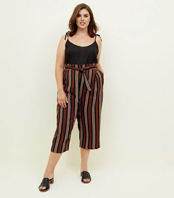 Curves Black and Rust Stripe Paperbag Waist Trousers