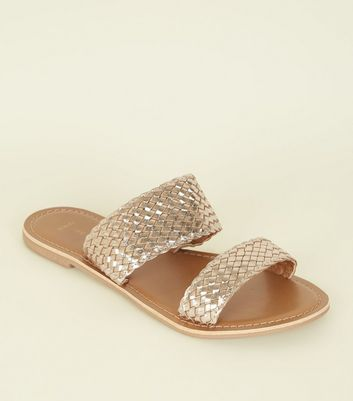 Wide FIt Gold Leather Woven Strap Sliders