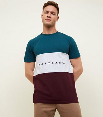 Teal Colour Block Portland Embroidered T Shirt by New Look