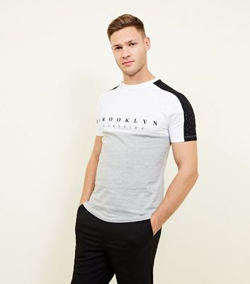 Grey Marl Spray Wash Brooklyn Print T-Shirt