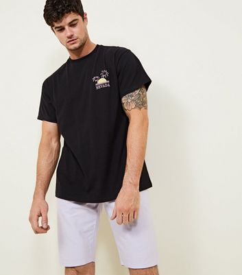 Black Nevada Embroidered T Shirt by New Look