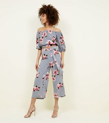 Cameo Rose Light Grey Floral Culottes