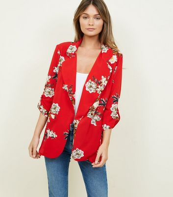 Cameo Rose Red Floral Collar Blazer
