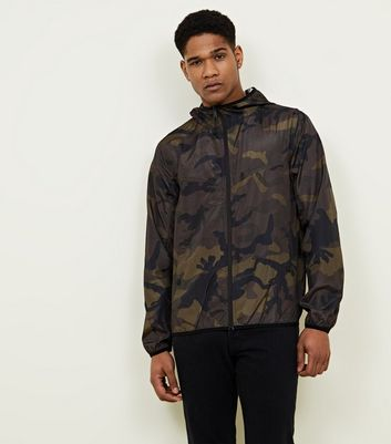 Green Camo Print Hooded Jacket