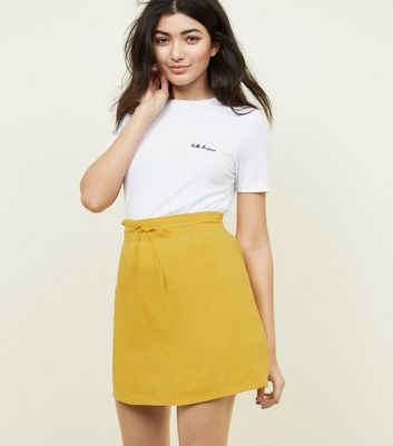 Noisy May Yellow Drawstring Waist Skirt