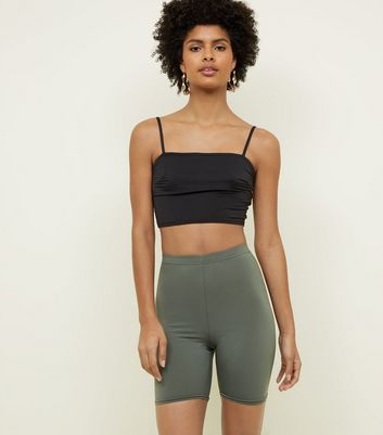 Khaki High Waist Stretch Shorts