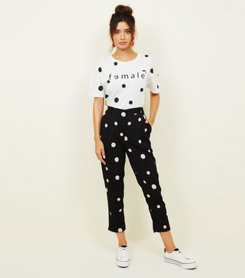 Noisy May Black Spot Print Tapered Trousers