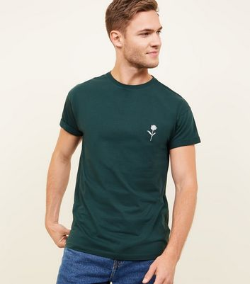 Green Solid Rose Embroidered T-Shirt