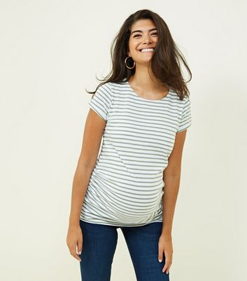 Maternity Green Stripe Short Sleeve T-Shirt